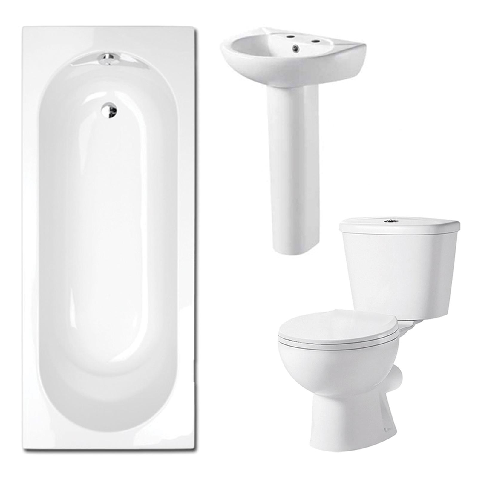 Savisto bathroom 1700 white modern shower bath toilet sink for Bathroom 3 piece suite
