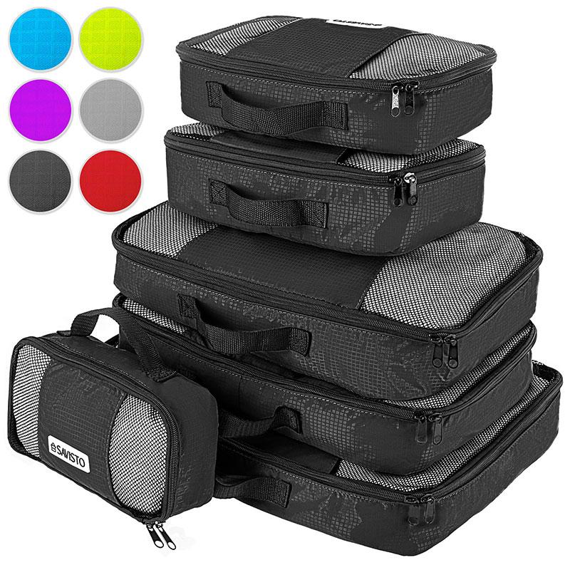savisto packing cubes 6 set luggage organiser travel. Black Bedroom Furniture Sets. Home Design Ideas