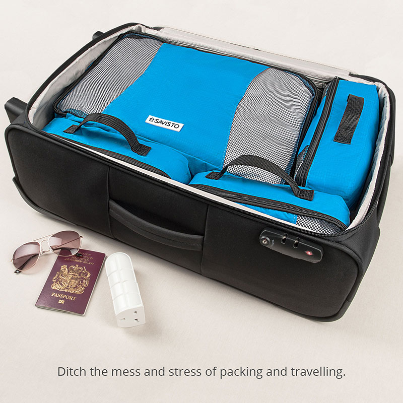 7fc081863add Details about Savisto Packing Cubes 6 Set Luggage Organiser Travel  Compression Suitcase Bags