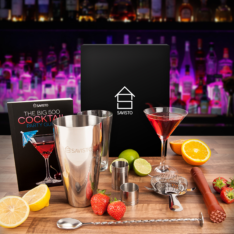 Christmas Gift Set Box Includes Cocktail Set with Recipe Book /& Wine Aerator UK