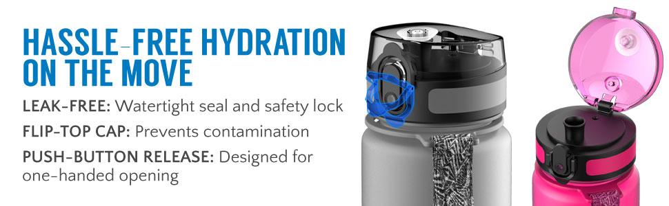 Automate Sports Eau Bouteille BPA Libre en plastique de boissons pour adultes et enfants
