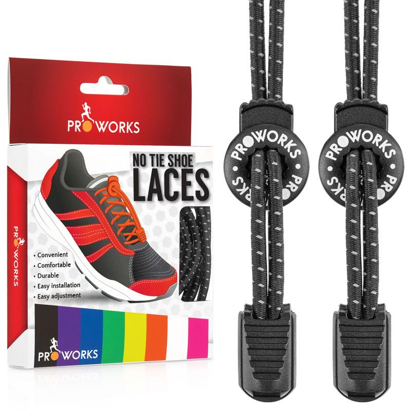 10b8d174 Details about Proworks Elastic No Tie Laces Shoe Boot & Trainer Easy Lock  Reflective Shoelaces